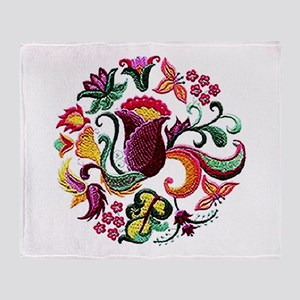 Jacobean Embroidery Flowers Throw Blanket