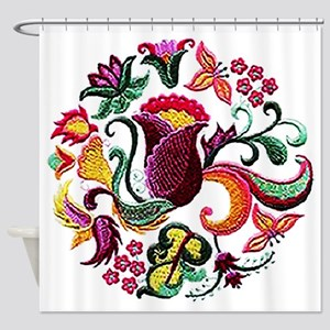 Jacobean Embroidery Flowers Shower Curtain