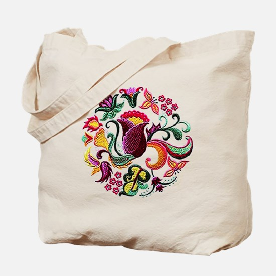 Jacobean Embroidery Flowers Tote Bag