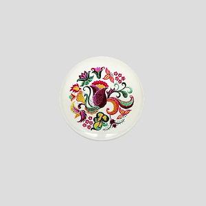 Jacobean Embroidery Flowers Mini Button