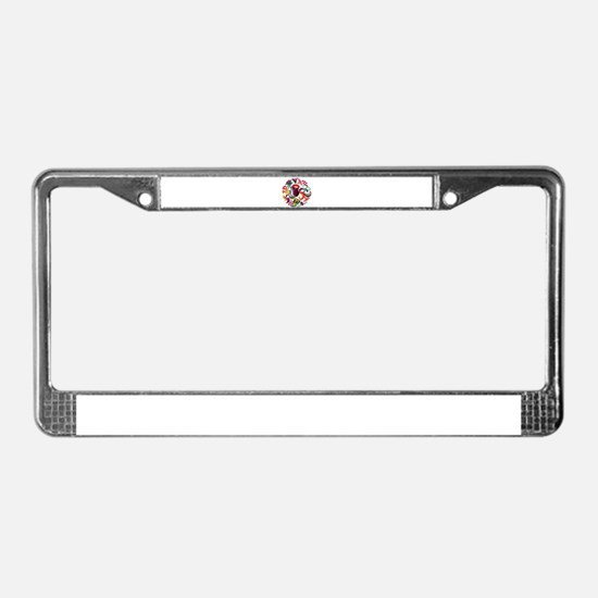 Jacobean Embroidery Flowers License Plate Frame