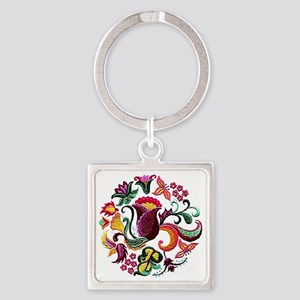 Jacobean Embroidery Flowers Square Keychain
