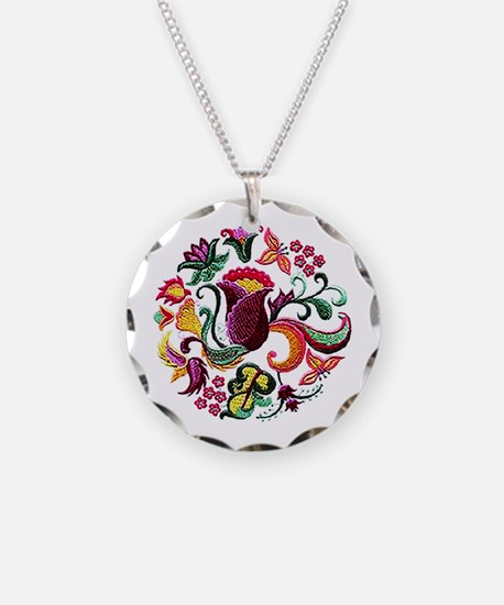 Jacobean Embroidery Flowers Necklace