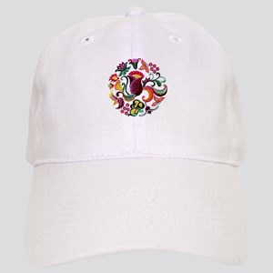 Jacobean Embroidery Flowers Cap
