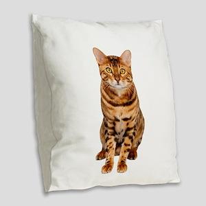 Amazing Bengal Kitten Burlap Throw Pillow