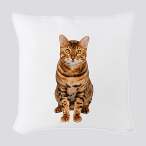 Amazing Bengal Kitten Woven Throw Pillow