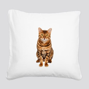 Amazing Bengal Kitten Square Canvas Pillow