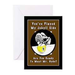 Jekyll Hyde 9 Ball Billi Greeting Cards (Pk of 10)