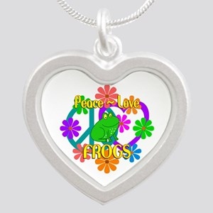 Peace Love Frogs Silver Heart Necklace