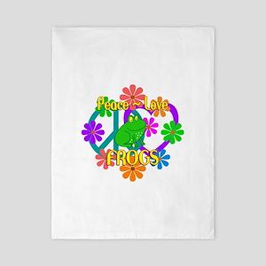 Peace Love Frogs Twin Duvet