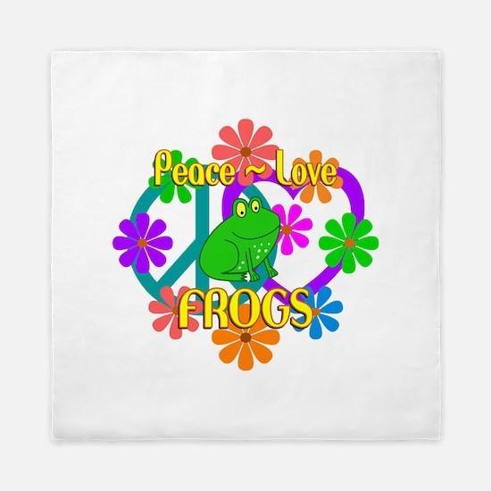 Peace Love Frogs Queen Duvet