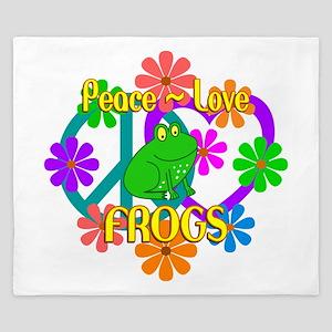 Peace Love Frogs King Duvet