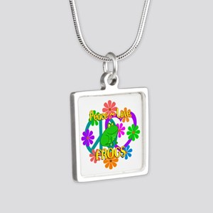 Peace Love Frogs Silver Square Necklace