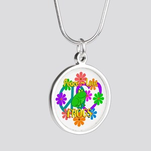 Peace Love Frogs Silver Round Necklace