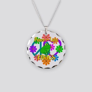 Peace Love Frogs Necklace Circle Charm