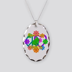 Peace Love Frogs Necklace Oval Charm