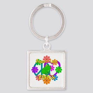 Peace Love Frogs Square Keychain