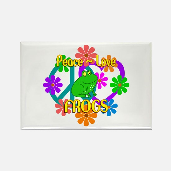Peace Love Frogs Rectangle Magnet