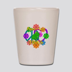 Peace Love Frogs Shot Glass