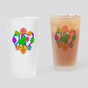 Peace Love Frogs Drinking Glass