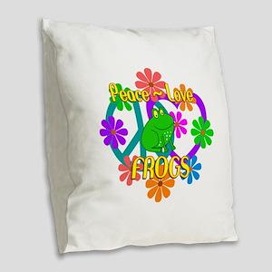 Peace Love Frogs Burlap Throw Pillow