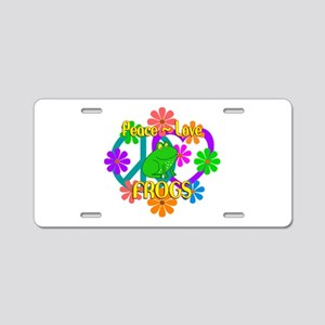 Peace Love Frogs Aluminum License Plate