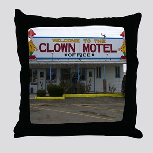 Welcome To The Clown Motel Throw Pillow