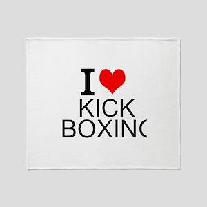 I Love Kick Boxing Throw Blanket