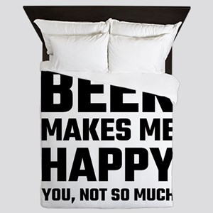 Beer Makes Me Happy Queen Duvet