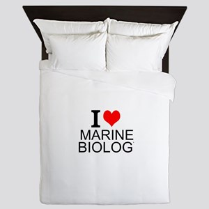 I Love Marine Biology Queen Duvet
