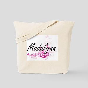 Madalynn Artistic Name Design with Flower Tote Bag
