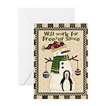 Freezer Snowman Greeting Card