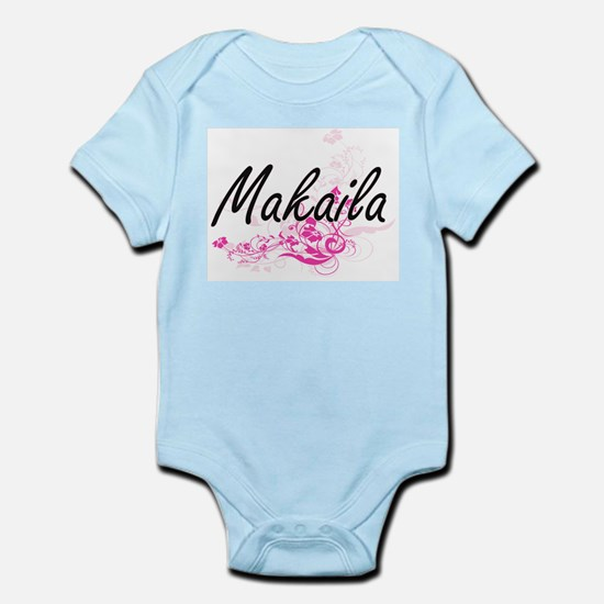 Makaila Artistic Name Design with Flower Body Suit