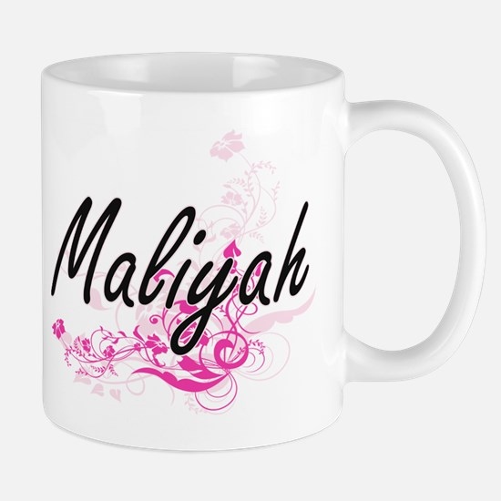 Maliyah Artistic Name Design with Flowers Mugs