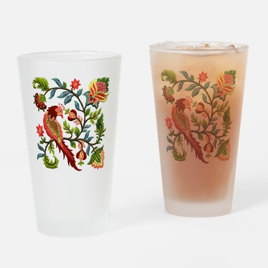 Jacobean Embroidery Drinking Glass