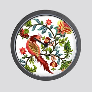 Jacobean Embroidery Wall Clock