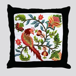 Jacobean Embroidery Throw Pillow