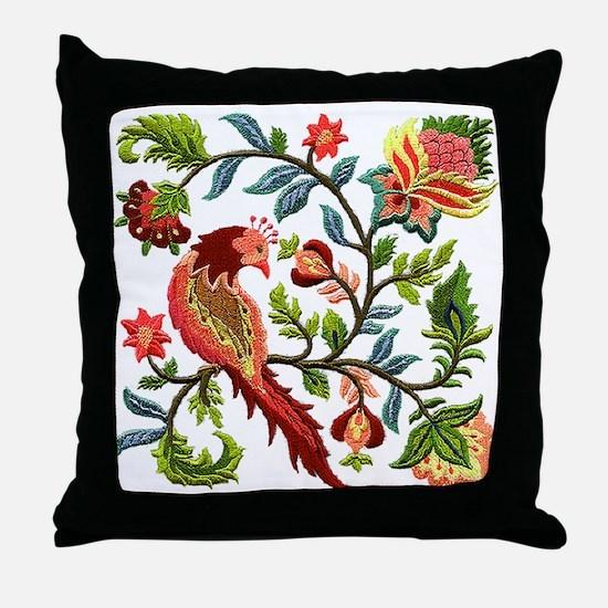Jacobean Embroidery Throw Pillow