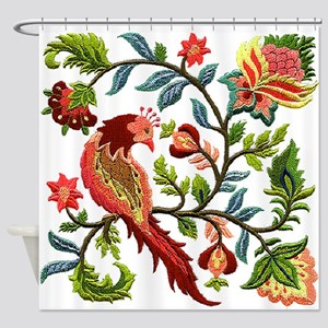 Jacobean Embroidery Shower Curtain