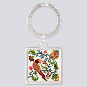 Jacobean Embroidery Square Keychain