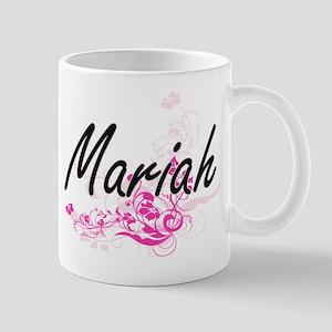 Mariah Artistic Name Design with Flowers Mugs