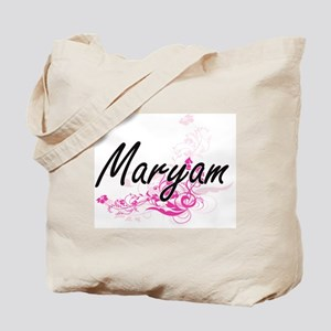 Maryam Artistic Name Design with Flowers Tote Bag