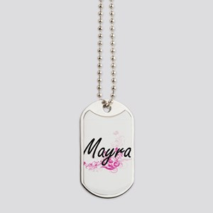 Mayra Artistic Name Design with Flowers Dog Tags
