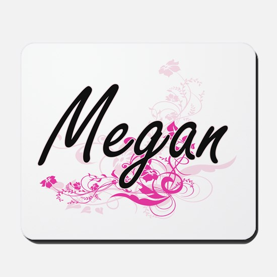 Megan Artistic Name Design with Flowers Mousepad