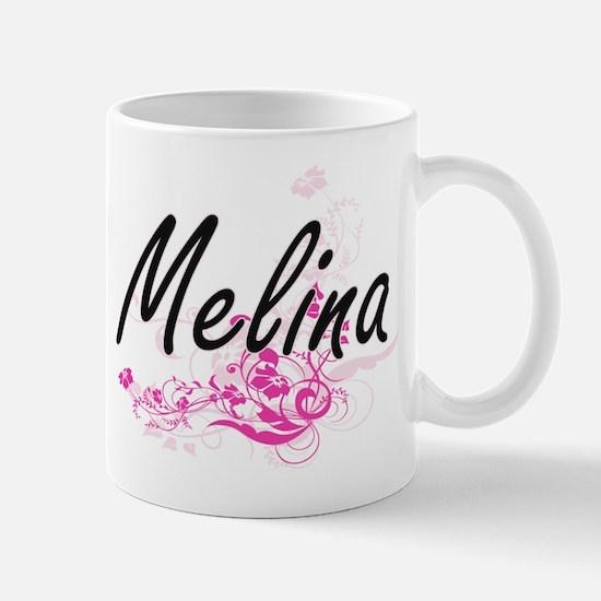 Melina Artistic Name Design with Flower Mugs