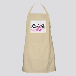 Michelle Artistic Name Design with Flowers Apron