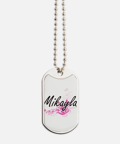 Mikayla Artistic Name Design with Flowers Dog Tags