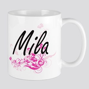 Mila Artistic Name Design with Flowers Mugs