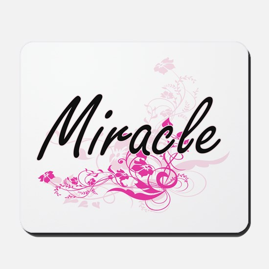Miracle Artistic Name Design with Flower Mousepad