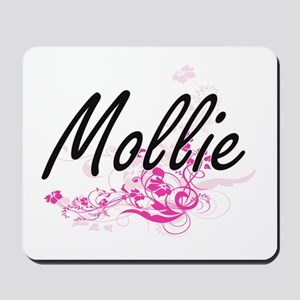 Mollie Artistic Name Design with Flowers Mousepad